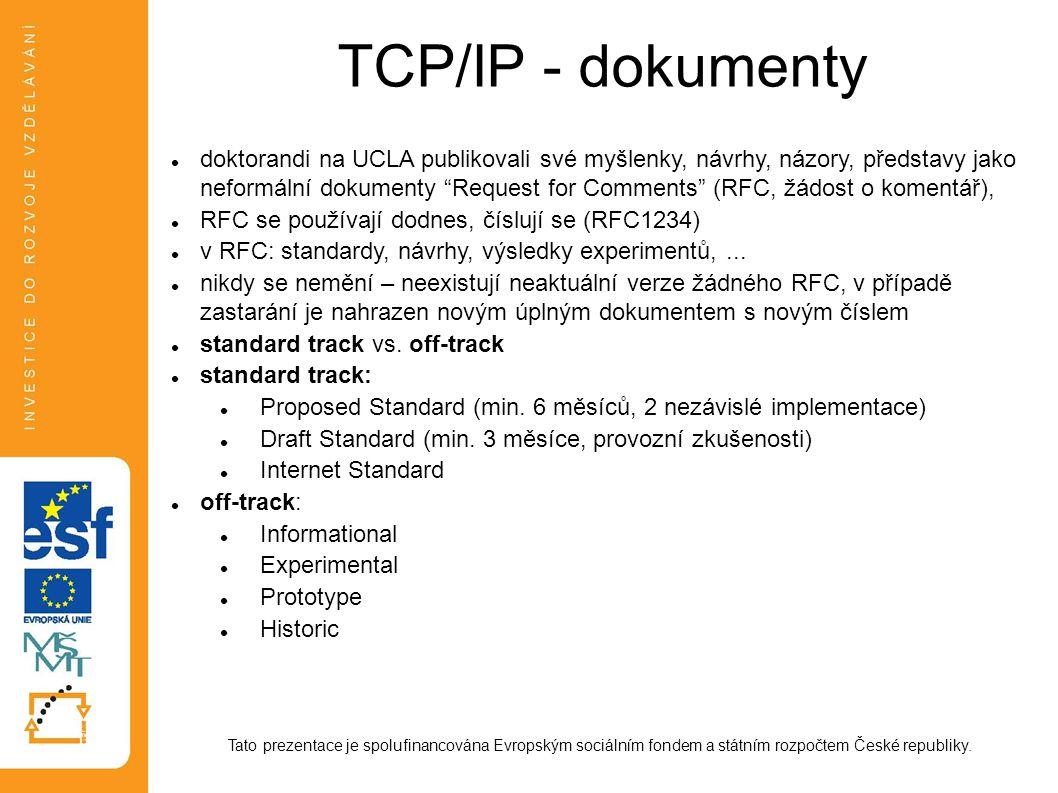 TCP/IP - dokumenty Tato prezentace je spolufinancována Evropským sociálním fondem a státním rozpočtem České republiky. doktorandi na UCLA publikovali