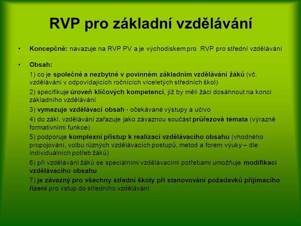 RVP pro základní vzdělávání Koncepčně: navazuje na RVP PV a je východiskem pro RVP pro střední vzdělávání Obsah: 1) co je společné a nezbytné v povinném základním vzdělávání žáků (vč.