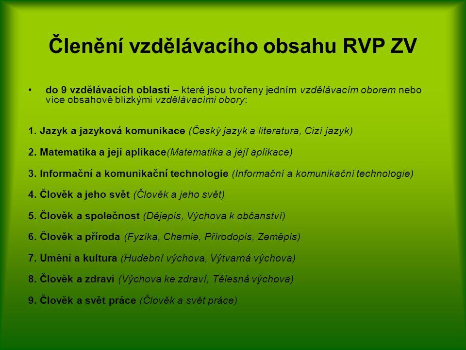 Členění vzdělávacího obsahu RVP ZV do 9 vzdělávacích oblastí – které jsou tvořeny jedním vzdělávacím oborem nebo více obsahově blízkými vzdělávacími obory: 1.