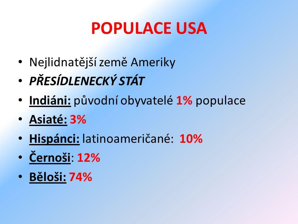 POPULACE USA Nejlidnatější země Ameriky PŘESÍDLENECKÝ STÁT Indiáni: původní obyvatelé 1% populace Asiaté: 3% Hispánci: latinoameričané: 10% Černoši: 12% Běloši: 74%