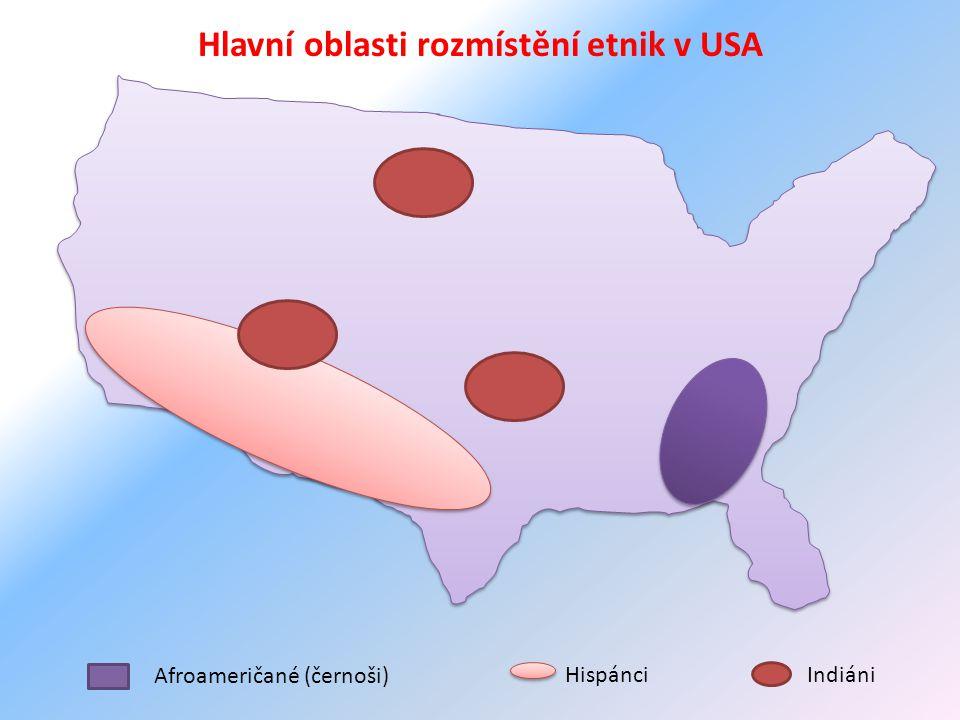 Afroameričané (černoši) HispánciIndiáni Hlavní oblasti rozmístění etnik v USA
