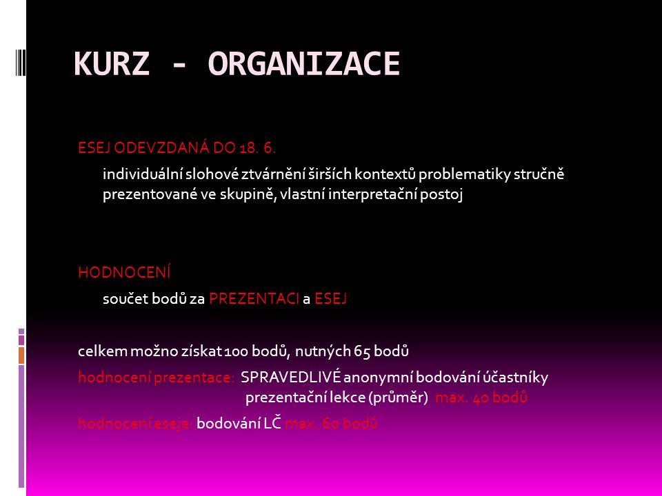 KURZ - ORGANIZACE ESEJ ODEVZDANÁ DO 18. 6.