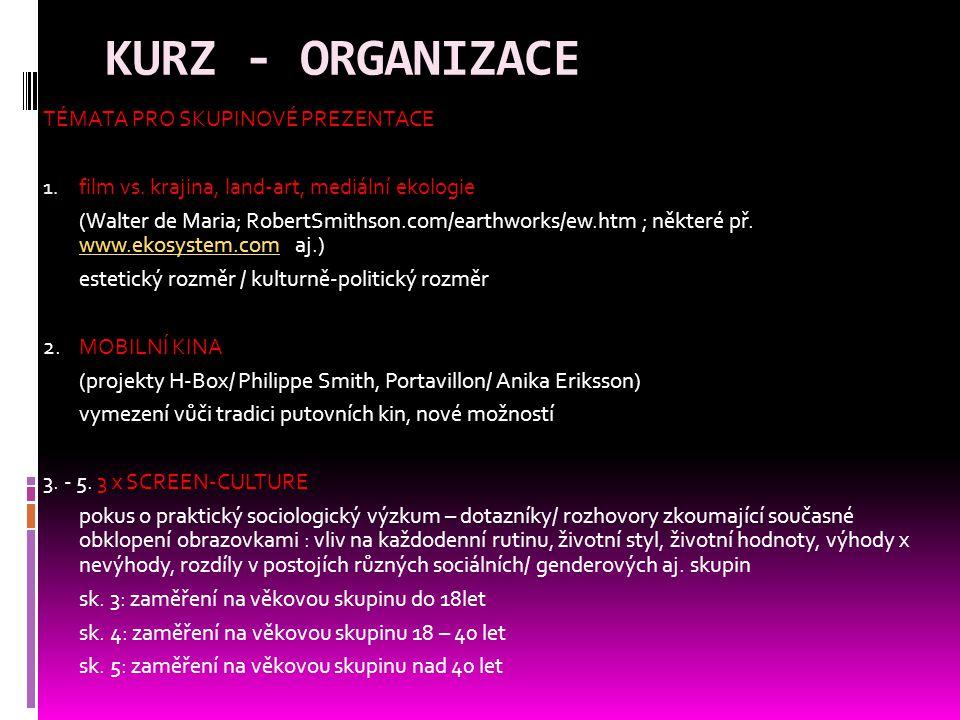 KURZ - ORGANIZACE TÉMATA PRO SKUPINOVÉ PREZENTACE 1.
