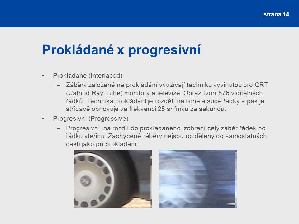 Prokládané x progresivní Prokládané (Interlaced) –Záběry založené na prokládání využívají techniku vyvinutou pro CRT (Cathod Ray Tube) monitory a televize.