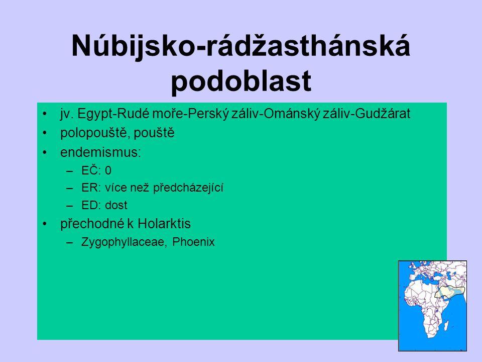 Núbijsko-rádžasthánská podoblast jv. Egypt-Rudé moře-Perský záliv-Ománský záliv-Gudžárat polopouště, pouště endemismus: –EČ: 0 –ER: více než předcháze