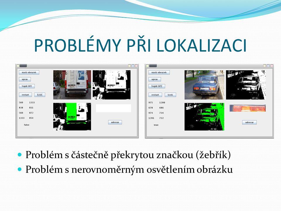 PROBLÉMY PŘI LOKALIZACI Problém s částečně překrytou značkou (žebřík) Problém s nerovnoměrným osvětlením obrázku