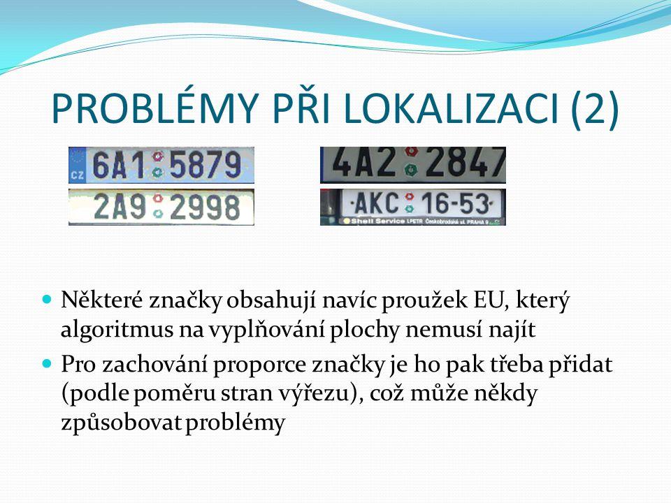PROBLÉMY PŘI LOKALIZACI (2) Některé značky obsahují navíc proužek EU, který algoritmus na vyplňování plochy nemusí najít Pro zachování proporce značky je ho pak třeba přidat (podle poměru stran výřezu), což může někdy způsobovat problémy