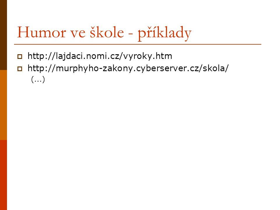 Humor ve škole - příklady  http://lajdaci.nomi.cz/vyroky.htm  http://murphyho-zakony.cyberserver.cz/skola/ (...)