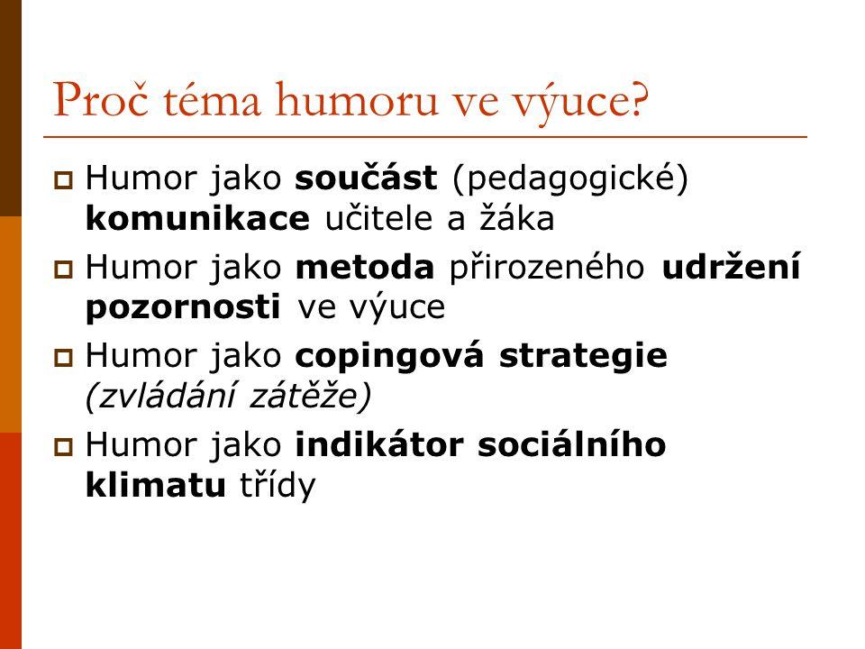 Proč téma humoru ve výuce?  Humor jako součást (pedagogické) komunikace učitele a žáka  Humor jako metoda přirozeného udržení pozornosti ve výuce 