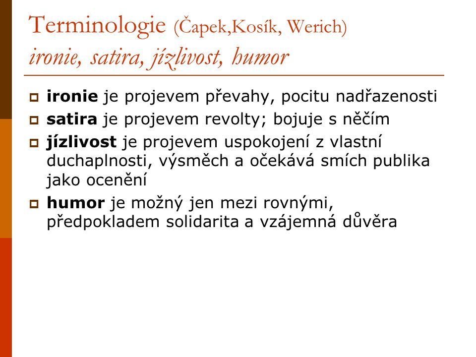 Terminologie (Čapek,Kosík, Werich) ironie, satira, jízlivost, humor  ironie je projevem převahy, pocitu nadřazenosti  satira je projevem revolty; bo