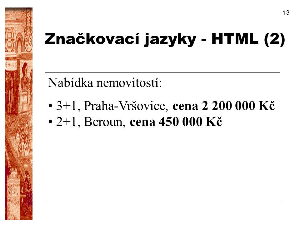 13 Značkovací jazyky - HTML (2) Nabídka nemovitostí: 3+1, Praha-Vršovice, cena 2 200 000 Kč 2+1, Beroun, cena 450 000 Kč