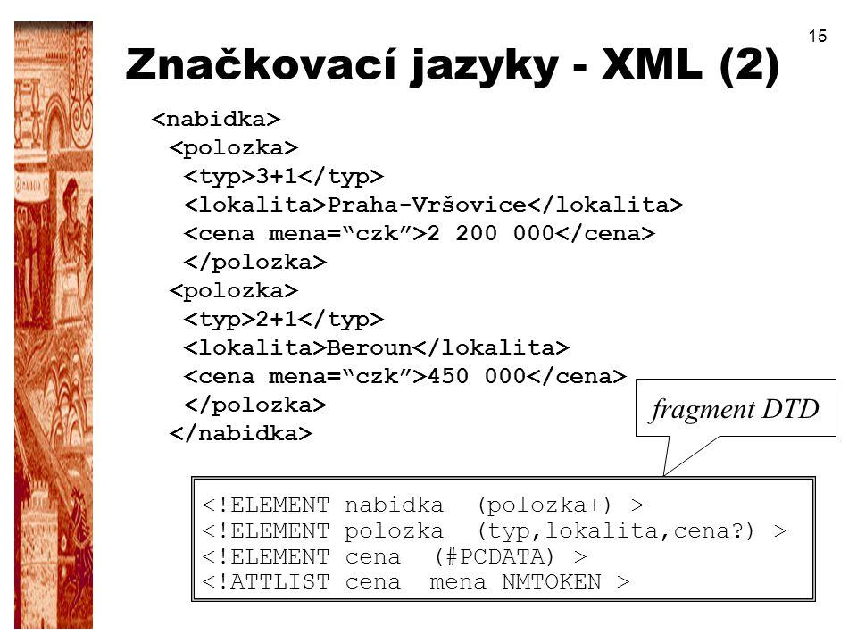 15 Značkovací jazyky - XML (2) 3+1 Praha-Vršovice 2 200 000 2+1 Beroun 450 000 fragment DTD