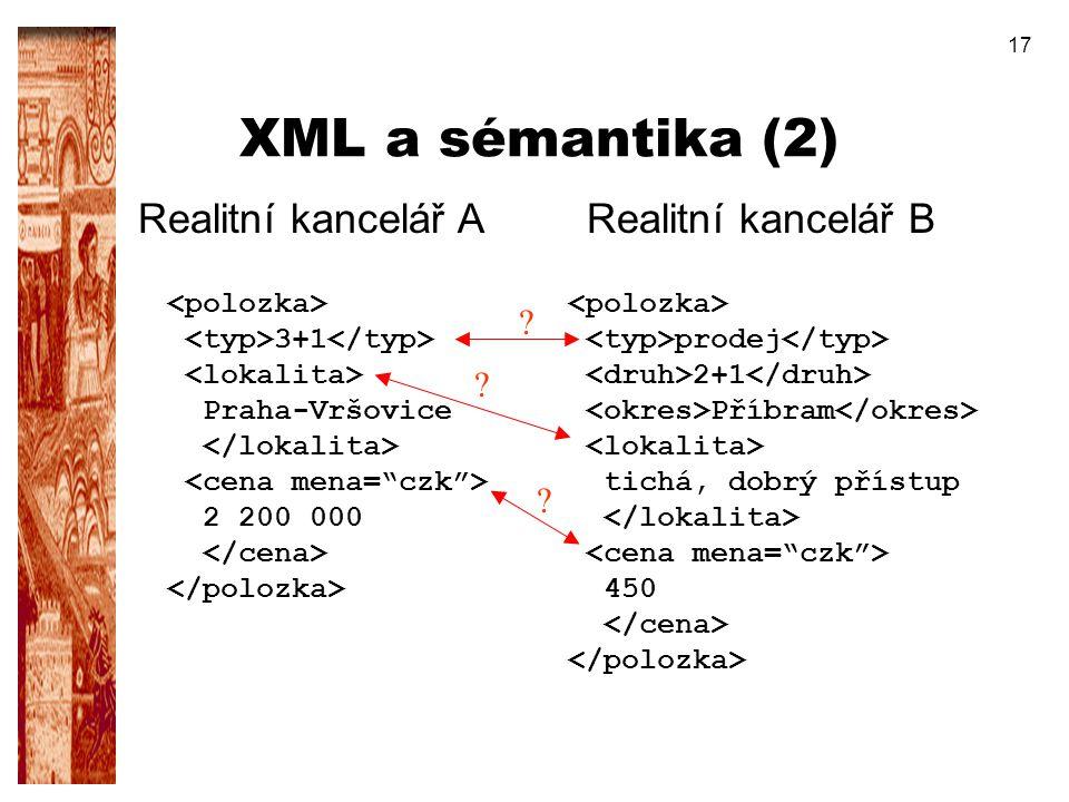 17 XML a sémantika (2) Realitní kancelář A 3+1 Praha-Vršovice 2 200 000 Realitní kancelář B prodej 2+1 Příbram tichá, dobrý přístup 450 ? ? ?