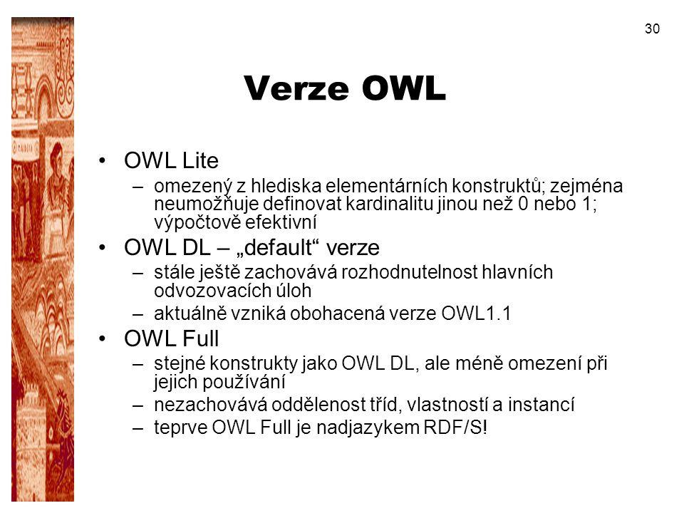 30 Verze OWL OWL Lite –omezený z hlediska elementárních konstruktů; zejména neumožňuje definovat kardinalitu jinou než 0 nebo 1; výpočtově efektivní O
