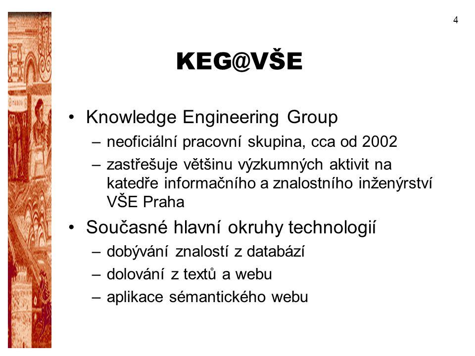 4 KEG@VŠE Knowledge Engineering Group –neoficiální pracovní skupina, cca od 2002 –zastřešuje většinu výzkumných aktivit na katedře informačního a znal