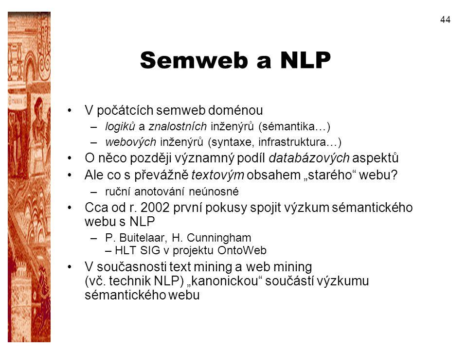 44 Semweb a NLP V počátcích semweb doménou –logiků a znalostních inženýrů (sémantika…) –webových inženýrů (syntaxe, infrastruktura…) O něco později vý