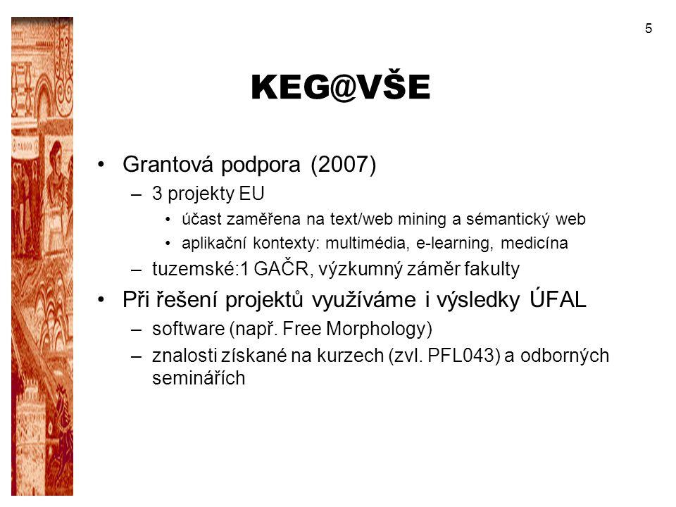 5 KEG@VŠE Grantová podpora (2007) –3 projekty EU účast zaměřena na text/web mining a sémantický web aplikační kontexty: multimédia, e-learning, medicí
