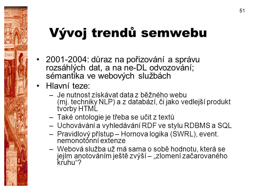 51 Vývoj trendů semwebu 2001-2004: důraz na pořizování a správu rozsáhlých dat, a na ne-DL odvozování; sémantika ve webových službách Hlavní teze: –Je