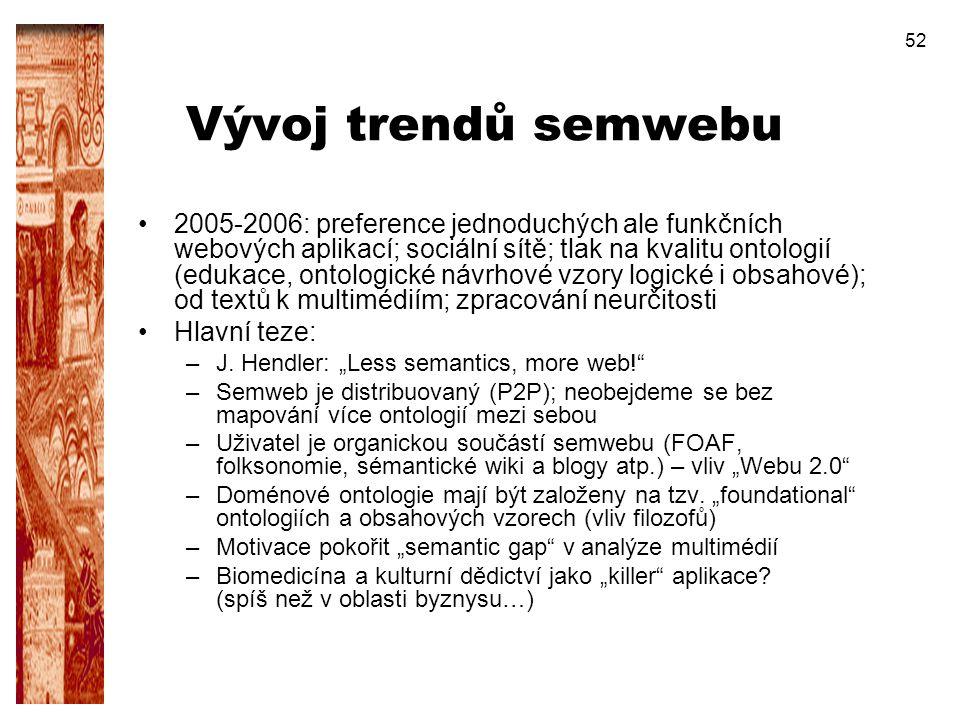 52 Vývoj trendů semwebu 2005-2006: preference jednoduchých ale funkčních webových aplikací; sociální sítě; tlak na kvalitu ontologií (edukace, ontolog