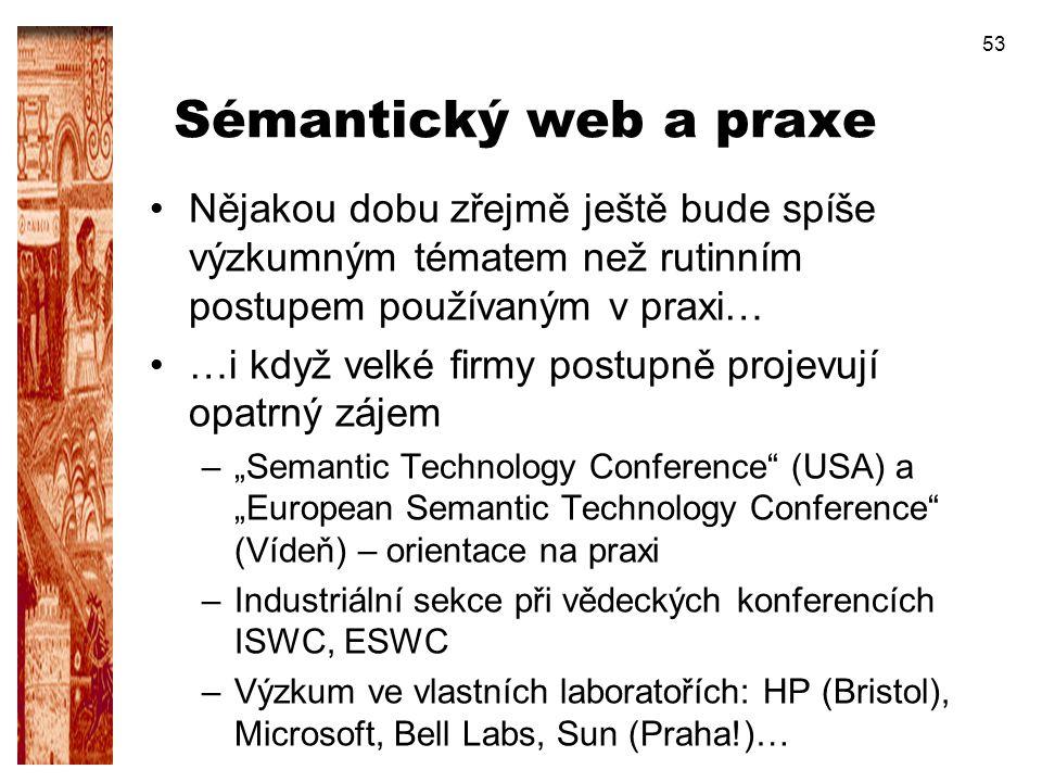 53 Sémantický web a praxe Nějakou dobu zřejmě ještě bude spíše výzkumným tématem než rutinním postupem používaným v praxi… …i když velké firmy postupn