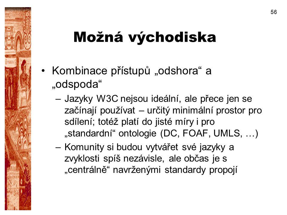 """56 Možná východiska Kombinace přístupů """"odshora"""" a """"odspoda"""" –Jazyky W3C nejsou ideální, ale přece jen se začínají používat – určitý minimální prostor"""