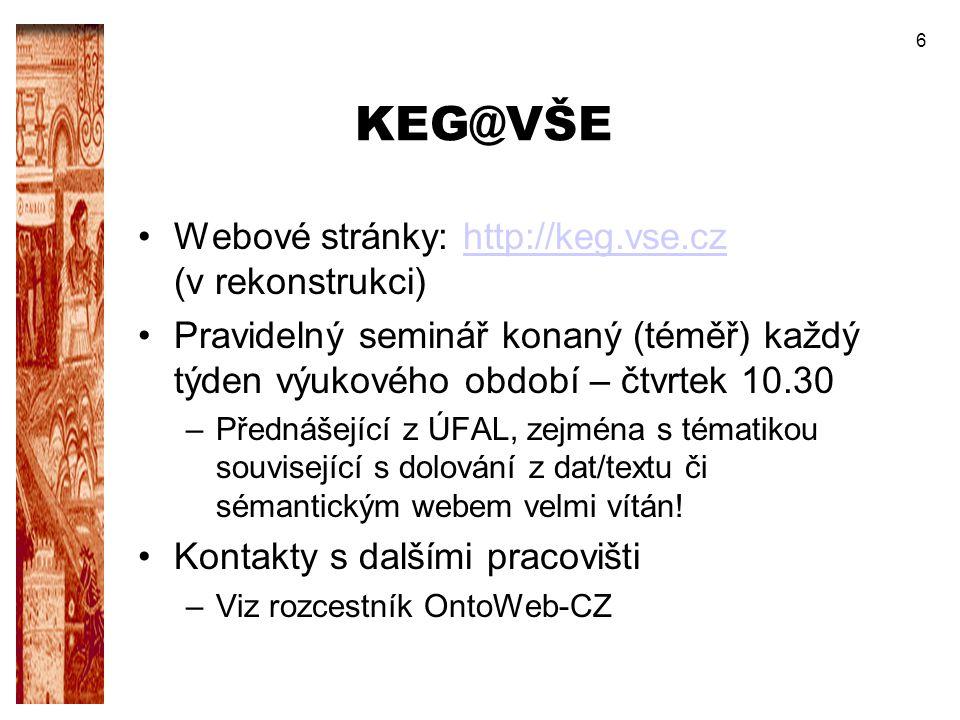 6 KEG@VŠE Webové stránky: http://keg.vse.cz (v rekonstrukci)http://keg.vse.cz Pravidelný seminář konaný (téměř) každý týden výukového období – čtvrtek