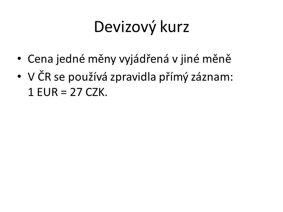 Devizový kurz Cena jedné měny vyjádřená v jiné měně V ČR se používá zpravidla přímý záznam: 1 EUR = 27 CZK.