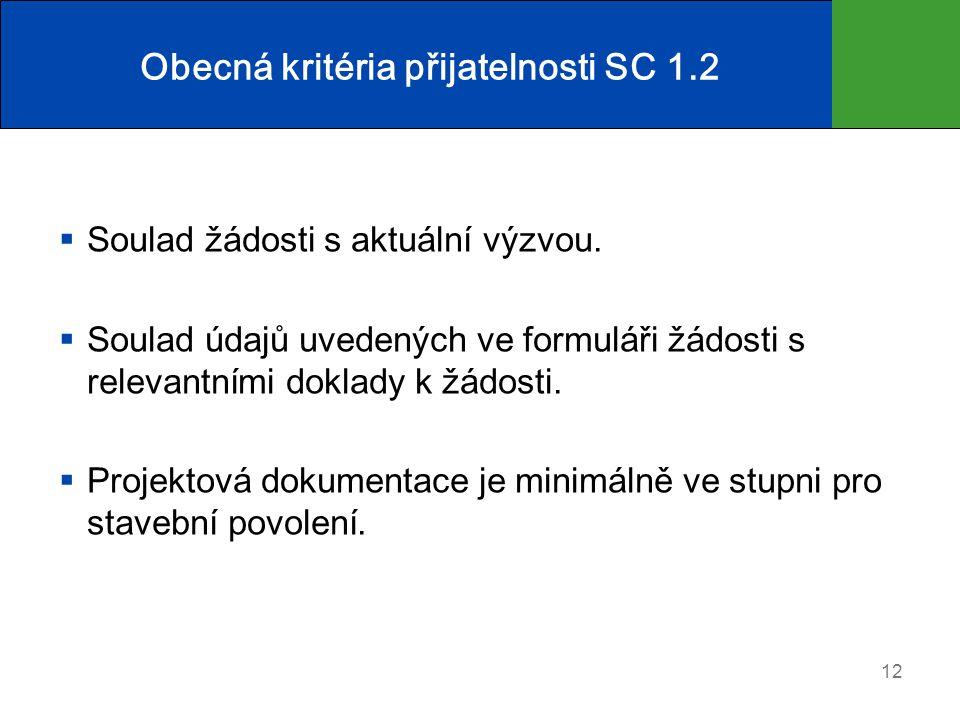 Obecná kritéria přijatelnosti SC 1.2  Soulad žádosti s aktuální výzvou.