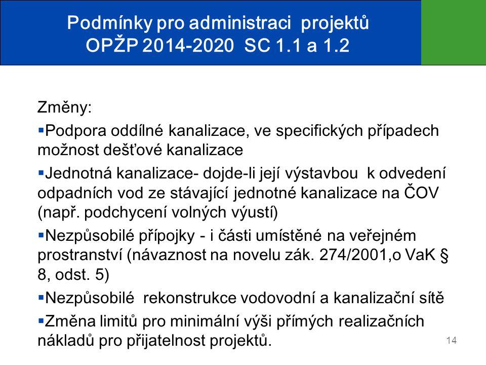 Podmínky pro administraci projektů OPŽP 2014-2020 SC 1.1 a 1.2 Změny:  Podpora oddílné kanalizace, ve specifických případech možnost dešťové kanalizace  Jednotná kanalizace- dojde-li její výstavbou k odvedení odpadních vod ze stávající jednotné kanalizace na ČOV (např.