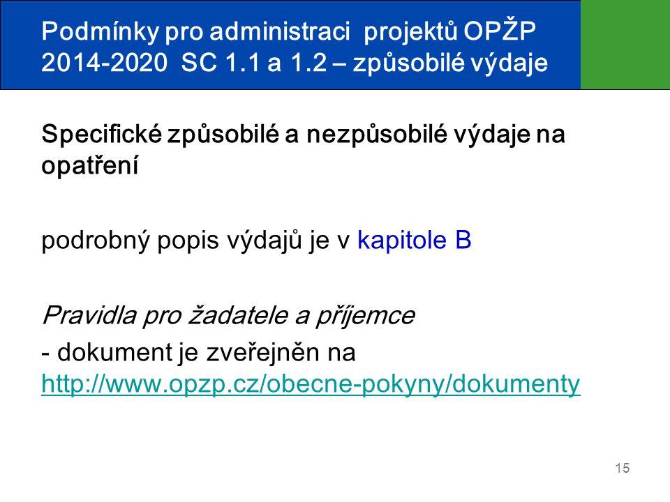 Podmínky pro administraci projektů OPŽP 2014-2020 SC 1.1 a 1.2 – způsobilé výdaje Specifické způsobilé a nezpůsobilé výdaje na opatření podrobný popis výdajů je v kapitole B Pravidla pro žadatele a příjemce - dokument je zveřejněn na http://www.opzp.cz/obecne-pokyny/dokumenty http://www.opzp.cz/obecne-pokyny/dokumenty 15
