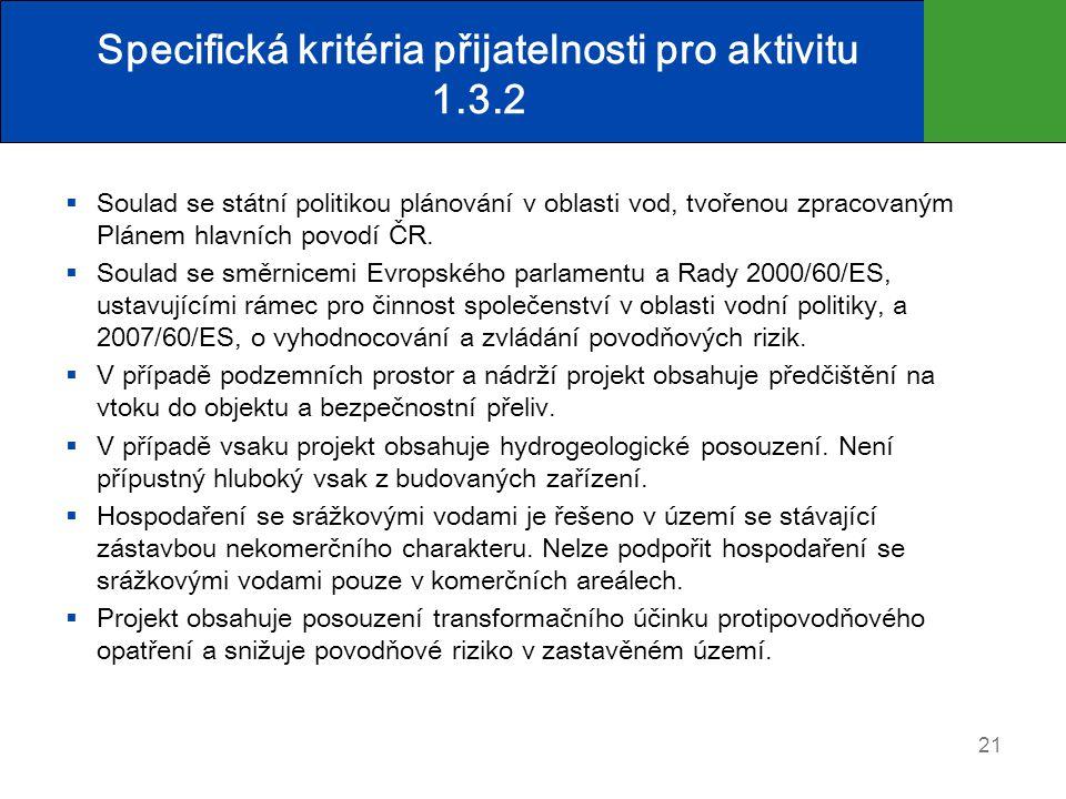 Specifická kritéria přijatelnosti pro aktivitu 1.3.2  Soulad se státní politikou plánování v oblasti vod, tvořenou zpracovaným Plánem hlavních povodí ČR.