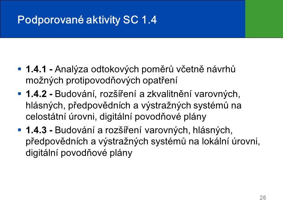 Podporované aktivity SC 1.4  1.4.1 - Analýza odtokových poměrů včetně návrhů možných protipovodňových opatření  1.4.2 - Budování, rozšíření a zkvalitnění varovných, hlásných, předpovědních a výstražných systémů na celostátní úrovni, digitální povodňové plány  1.4.3 - Budování a rozšíření varovných, hlásných, předpovědních a výstražných systémů na lokální úrovni, digitální povodňové plány 26