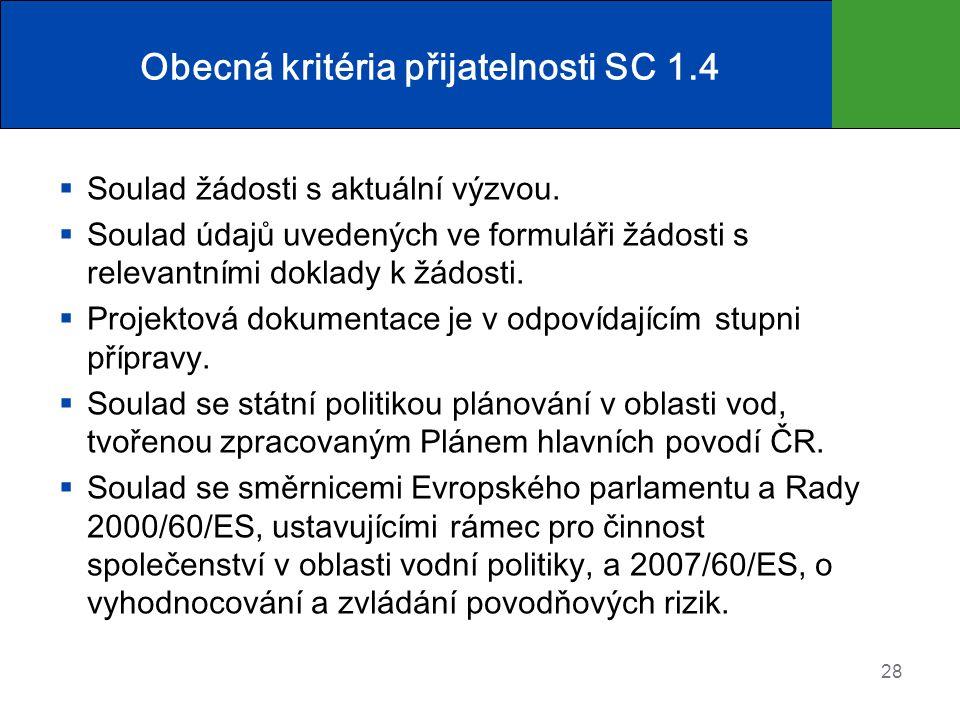 Obecná kritéria přijatelnosti SC 1.4  Soulad žádosti s aktuální výzvou.