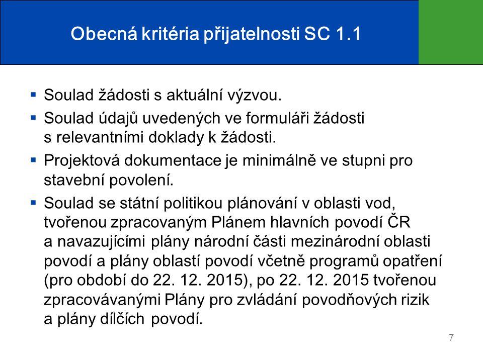 Obecná kritéria přijatelnosti SC 1.1  Soulad žádosti s aktuální výzvou.