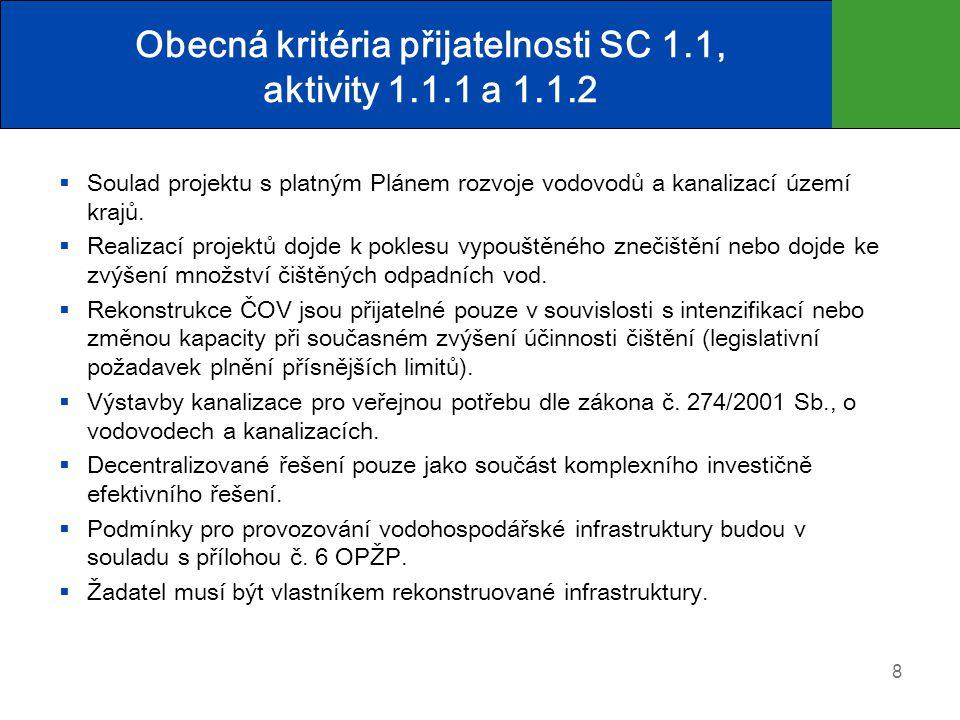 Obecná kritéria přijatelnosti SC 1.1, aktivity 1.1.1 a 1.1.2  Soulad projektu s platným Plánem rozvoje vodovodů a kanalizací území krajů.