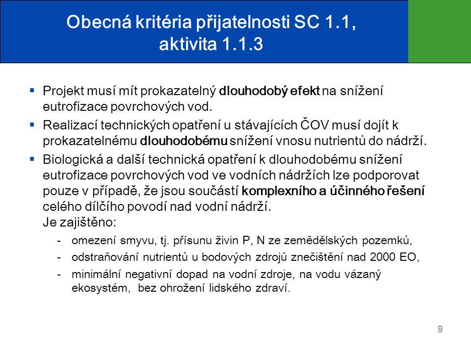 Obecná kritéria přijatelnosti SC 1.1, aktivita 1.1.3  Projekt musí mít prokazatelný dlouhodobý efekt na snížení eutrofizace povrchových vod.