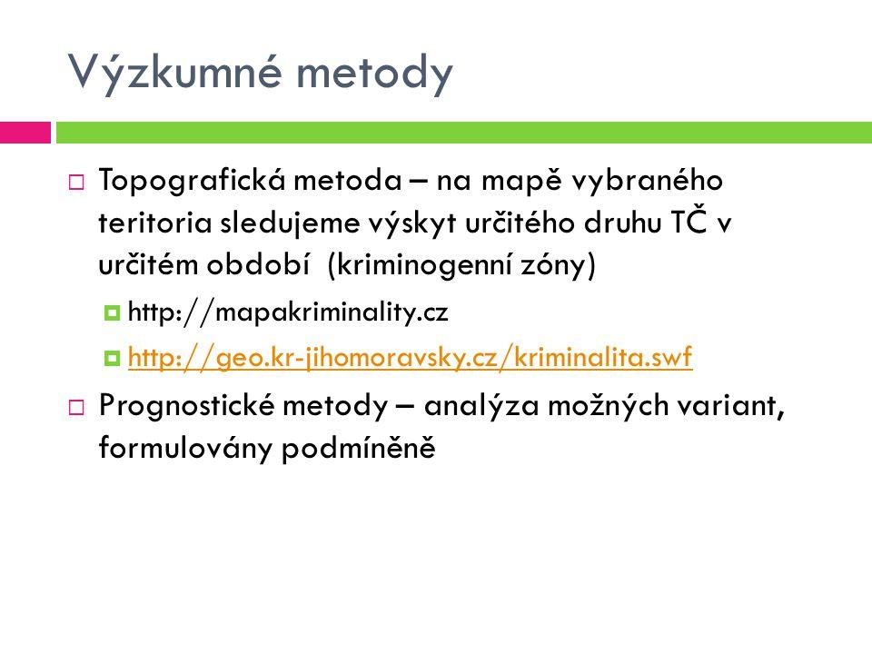 Výzkumné metody  Topografická metoda – na mapě vybraného teritoria sledujeme výskyt určitého druhu TČ v určitém období (kriminogenní zóny)  http://m