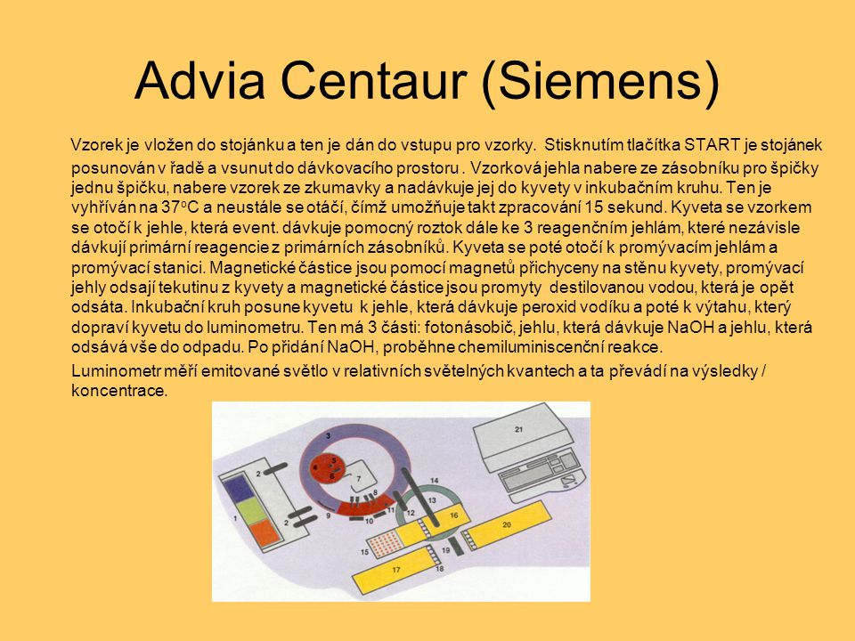 Advia Centaur (Siemens) Vzorek je vložen do stojánku a ten je dán do vstupu pro vzorky. Stisknutím tlačítka START je stojánek posunován v řadě a vsunu