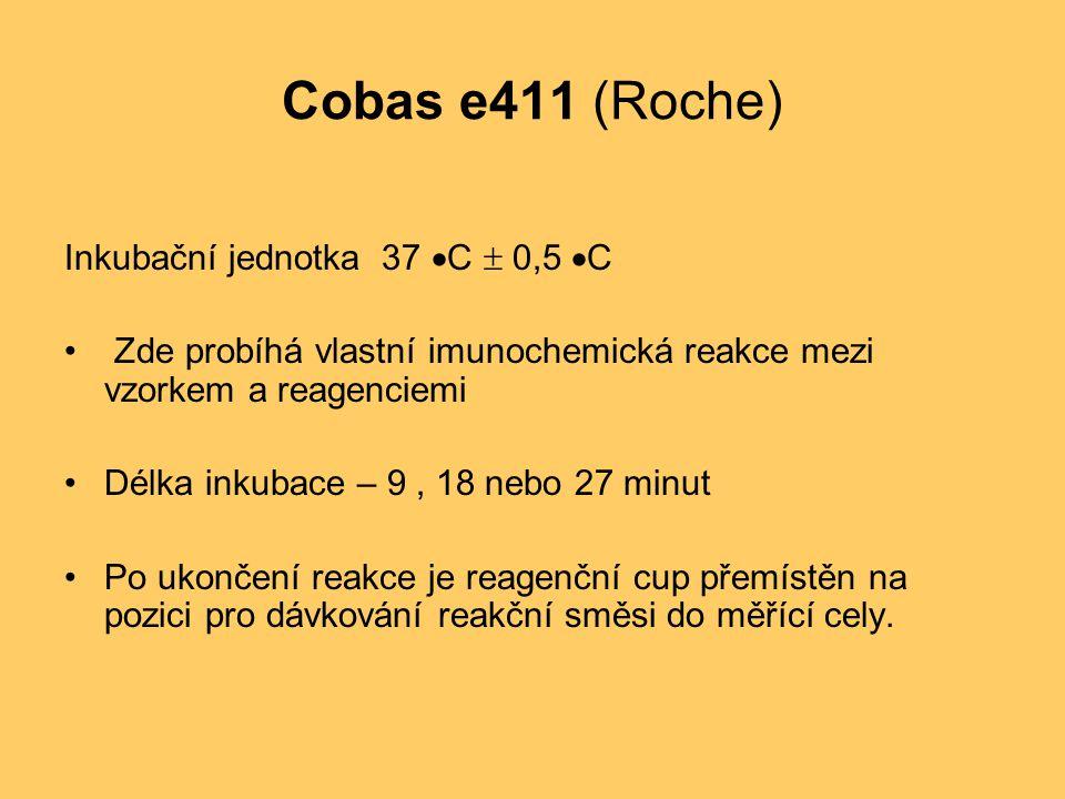 Cobas e411 (Roche) Inkubační jednotka 37  C  0,5  C Zde probíhá vlastní imunochemická reakce mezi vzorkem a reagenciemi Délka inkubace – 9, 18 nebo 27 minut Po ukončení reakce je reagenční cup přemístěn na pozici pro dávkování reakční směsi do měřící cely.