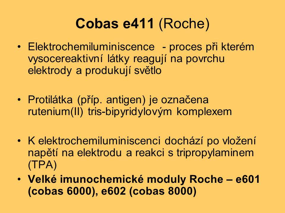 Cobas e411 (Roche) Elektrochemiluminiscence - proces při kterém vysocereaktivní látky reagují na povrchu elektrody a produkují světlo Protilátka (příp.