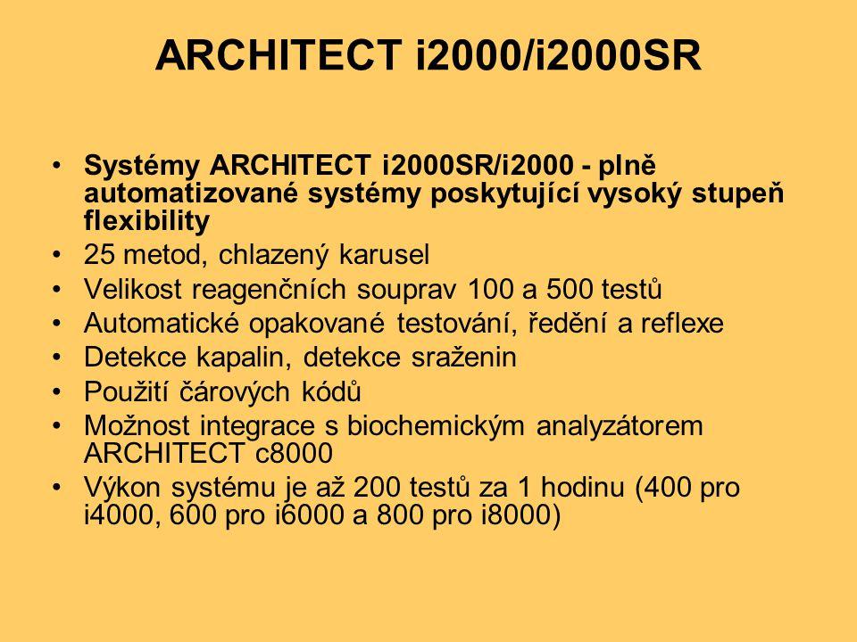 ARCHITECT i2000/i2000SR Systémy ARCHITECT i2000SR/i2000 - plně automatizované systémy poskytující vysoký stupeň flexibility 25 metod, chlazený karusel Velikost reagenčních souprav 100 a 500 testů Automatické opakované testování, ředění a reflexe Detekce kapalin, detekce sraženin Použití čárových kódů Možnost integrace s biochemickým analyzátorem ARCHITECT c8000 Výkon systému je až 200 testů za 1 hodinu (400 pro i4000, 600 pro i6000 a 800 pro i8000)