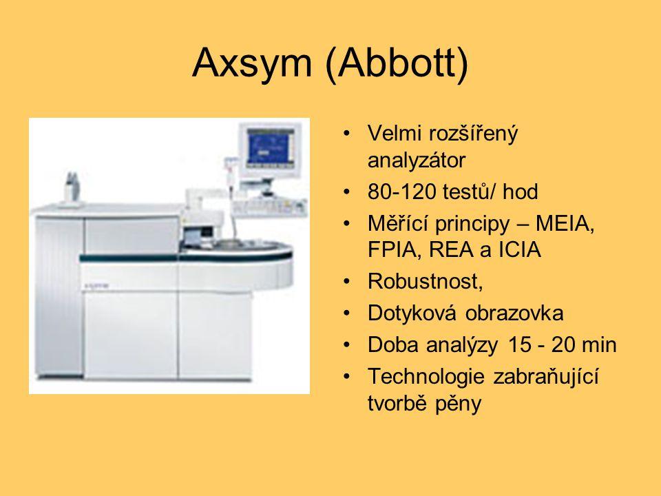 Axsym (Abbott) Velmi rozšířený analyzátor 80-120 testů/ hod Měřící principy – MEIA, FPIA, REA a ICIA Robustnost, Dotyková obrazovka Doba analýzy 15 - 20 min Technologie zabraňující tvorbě pěny