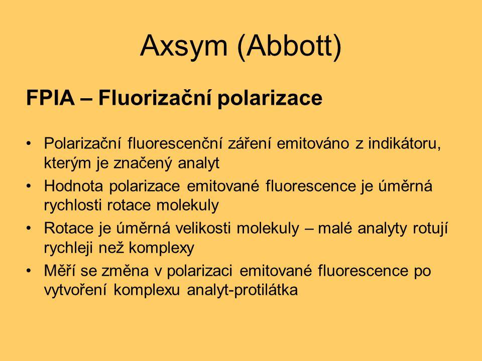 Axsym (Abbott) FPIA – Fluorizační polarizace Polarizační fluorescenční záření emitováno z indikátoru, kterým je značený analyt Hodnota polarizace emitované fluorescence je úměrná rychlosti rotace molekuly Rotace je úměrná velikosti molekuly – malé analyty rotují rychleji než komplexy Měří se změna v polarizaci emitované fluorescence po vytvoření komplexu analyt-protilátka