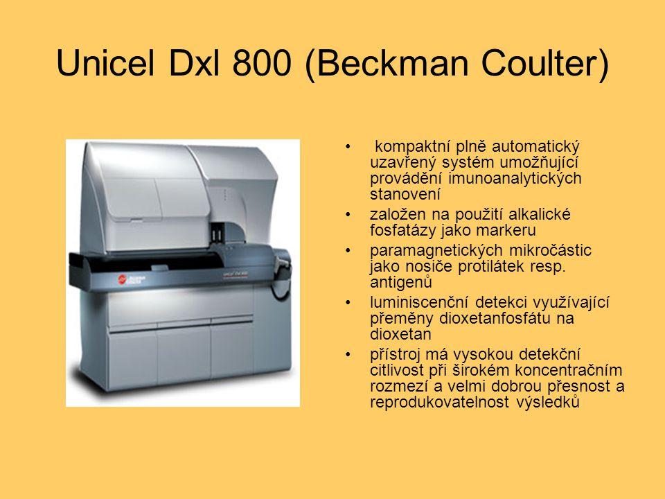 Unicel Dxl 800 (Beckman Coulter) kompaktní plně automatický uzavřený systém umožňující provádění imunoanalytických stanovení založen na použití alkalické fosfatázy jako markeru paramagnetických mikročástic jako nosiče protilátek resp.