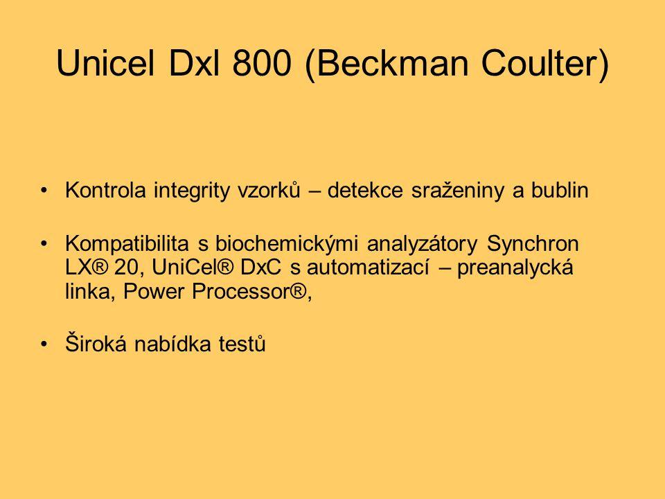 Unicel Dxl 800 (Beckman Coulter) Kontrola integrity vzorků – detekce sraženiny a bublin Kompatibilita s biochemickými analyzátory Synchron LX® 20, UniCel® DxC s automatizací – preanalycká linka, Power Processor®, Široká nabídka testů