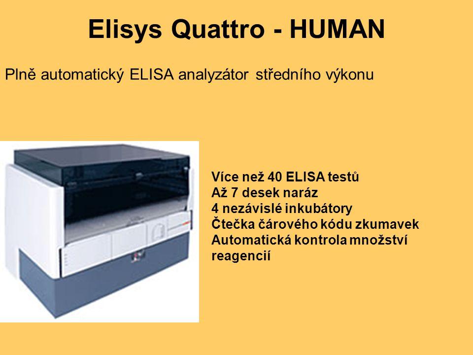 Elisys Quattro - HUMAN Plně automatický ELISA analyzátor středního výkonu Více než 40 ELISA testů Až 7 desek naráz 4 nezávislé inkubátory Čtečka čárového kódu zkumavek Automatická kontrola množství reagencií