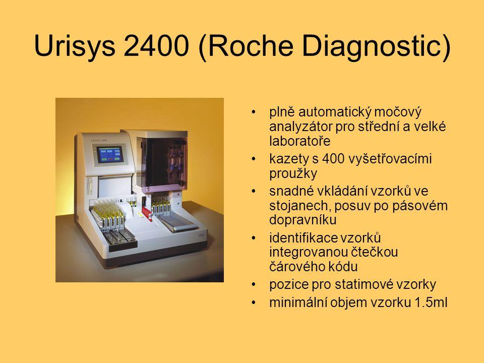 Urisys 2400 (Roche Diagnostic) plně automatický močový analyzátor pro střední a velké laboratoře kazety s 400 vyšetřovacími proužky snadné vkládání vzorků ve stojanech, posuv po pásovém dopravníku identifikace vzorků integrovanou čtečkou čárového kódu pozice pro statimové vzorky minimální objem vzorku 1.5ml