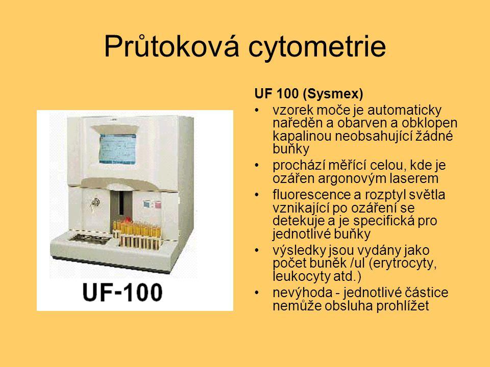 Průtoková cytometrie UF 100 (Sysmex) vzorek moče je automaticky naředěn a obarven a obklopen kapalinou neobsahující žádné buňky prochází měřící celou, kde je ozářen argonovým laserem fluorescence a rozptyl světla vznikající po ozáření se detekuje a je specifická pro jednotlivé buňky výsledky jsou vydány jako počet buněk /ul (erytrocyty, leukocyty atd.) nevýhoda - jednotlivé částice nemůže obsluha prohlížet