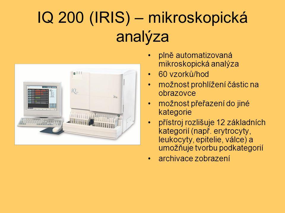 IQ 200 (IRIS) – mikroskopická analýza plně automatizovaná mikroskopická analýza 60 vzorků/hod možnost prohlížení částic na obrazovce možnost přeřazení do jiné kategorie přístroj rozlišuje 12 základních kategorií (např.
