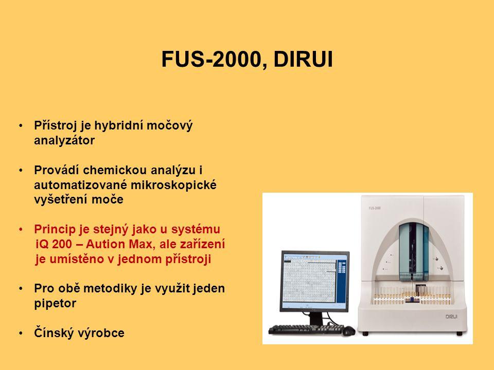 FUS-2000, DIRUI Přístroj je hybridní močový analyzátor Provádí chemickou analýzu i automatizované mikroskopické vyšetření moče Princip je stejný jako u systému iQ 200 – Aution Max, ale zařízení je umístěno v jednom přístroji Pro obě metodiky je využit jeden pipetor Čínský výrobce